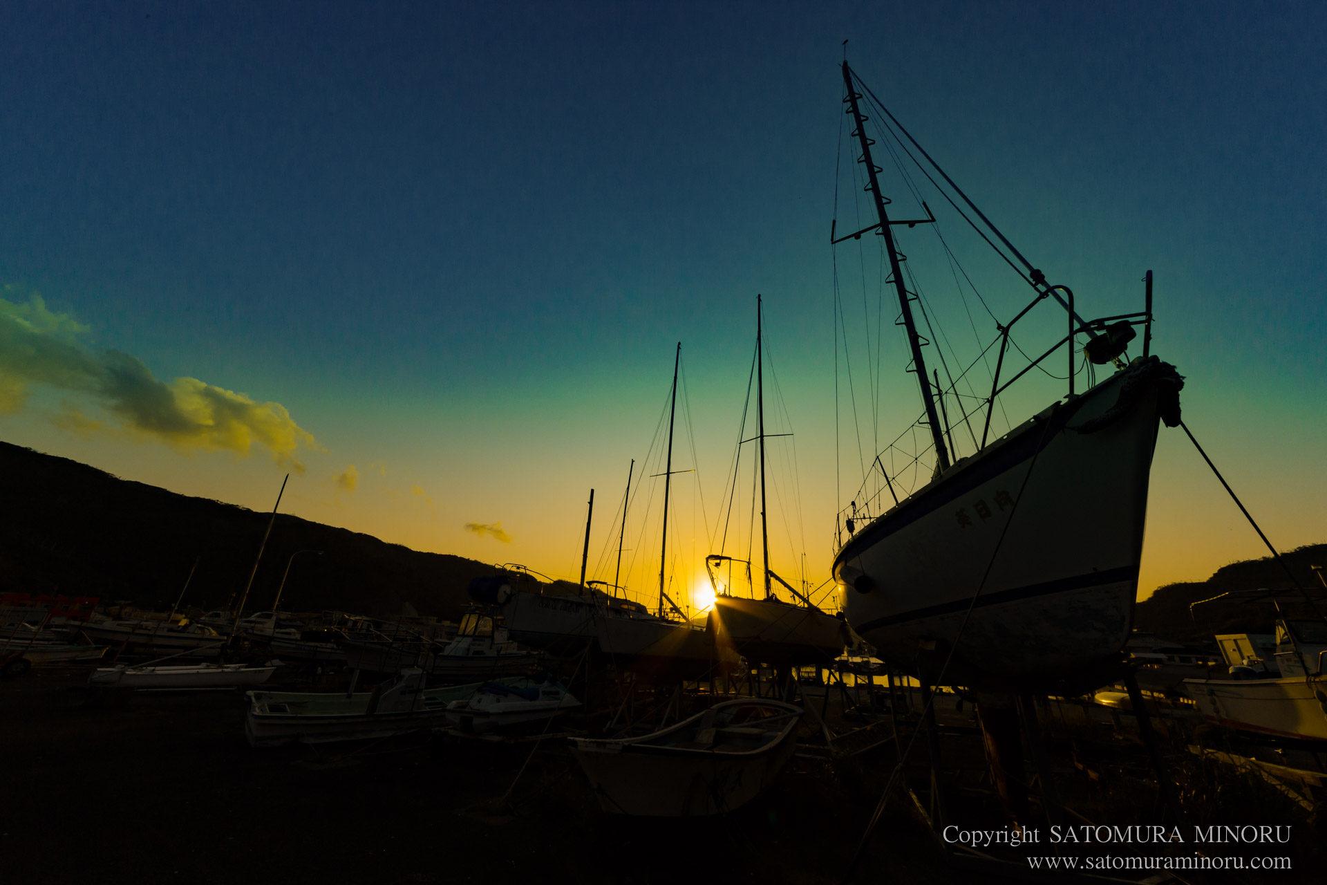大熊漁港の夕日