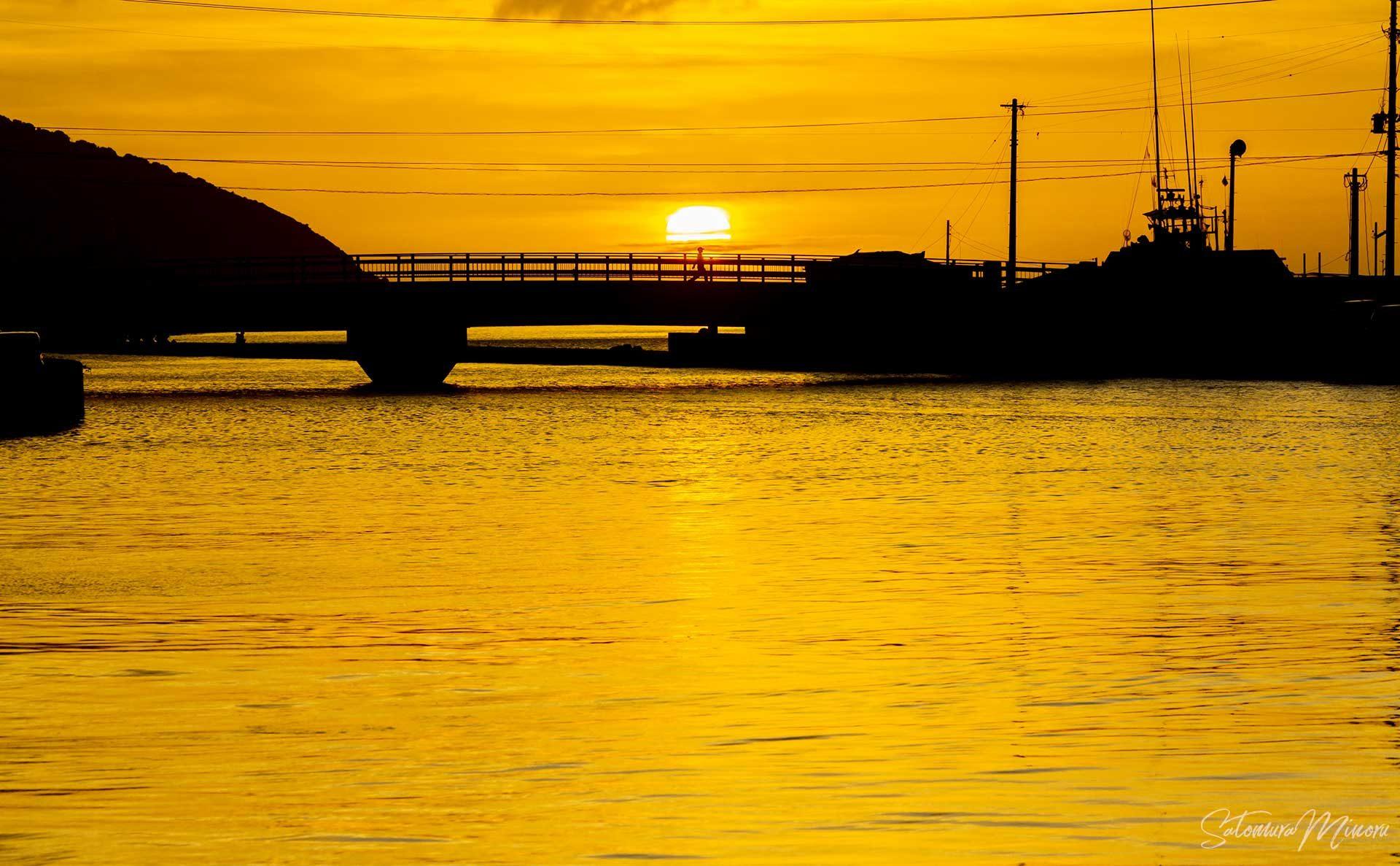 大熊橋に沈む夕日